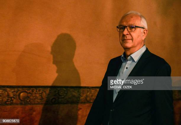 Jiri Drahos former head of the Czech Academy of Sciences and candidate for the presidential election arrives to deliver a speech to his supporters on...