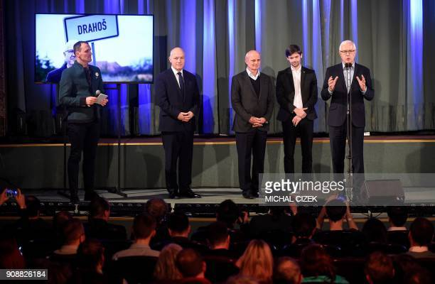 Jiri Drahos former head of the Czech Academy of Sciences and candidate for the presidential election is joined on stage by and his supporters and...