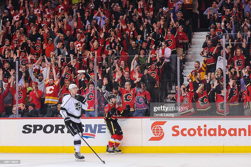 Jiri Hudler #24 of the Calgary Flames celebrates after scoring the Flames' third goal against Los Angeles Kings during an NHL game at Scotiabank Saddledome on April 9, 2015 in Calgary, Alberta, Canada.