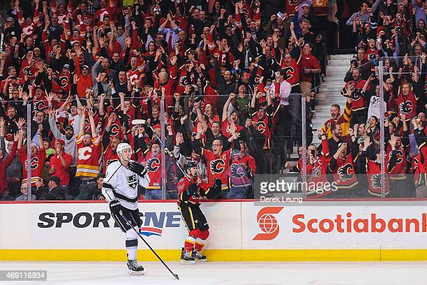 Jiri Hudler of the Calgary Flames celebrates after scoring the Flames' third goal against Los Angeles Kings during an NHL game at Scotiabank...