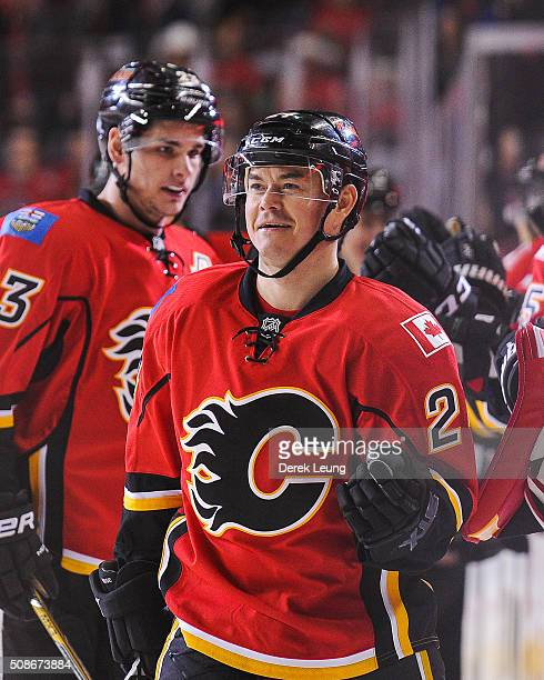 Jiri Hudler of the Calgary Flames in action against the Columbus Blue Jackets during an NHL game at Scotiabank Saddledome on February 5 2016 in...