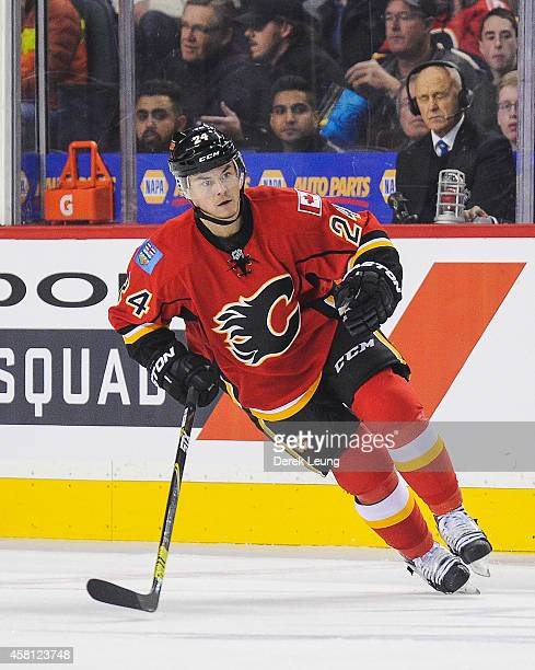 Jiri Hudler of the Calgary Flames in action against the Montreal Canadiens during an NHL game at Scotiabank Saddledome on October 28 2014 in Calgary...