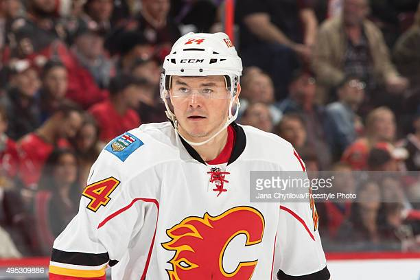 Jiri Hudler of the Calgary Flames looks on during an NHL game against the Ottawa Senators at Canadian Tire Centre on October 28 2015 in Ottawa...