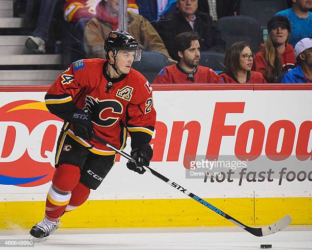 Jiri Hudler of the Calgary Flames skates against the St Louis Blues during an NHL game at Scotiabank Saddledome on March 17 2015 in Calgary Alberta...