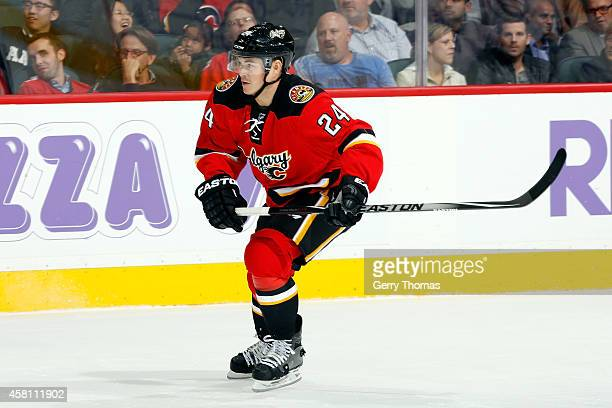 Jiri Hudler of the Calgary Flames skates against the Tampa Bay Lightning at Scotiabank Saddledome on October 21 2014 in Calgary Alberta Canada Tampa...