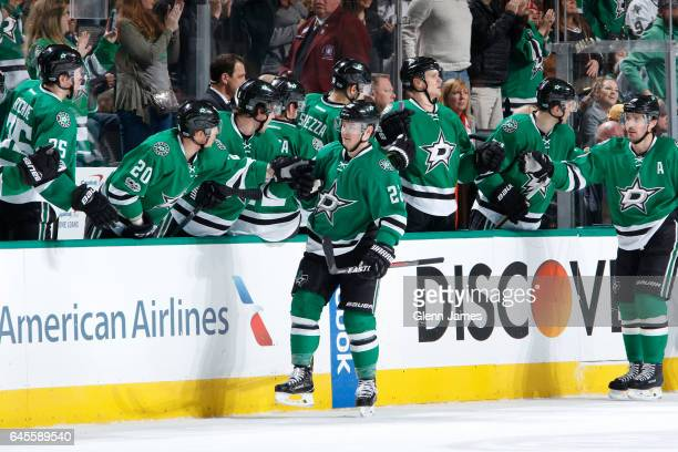 Jiri Hudler of the Dallas Stars celebrates a goal against the Boston Bruins at the American Airlines Center on February 26 2017 in Dallas Texas