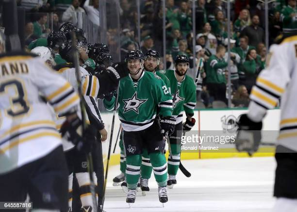 Jiri Hudler of the Dallas Stars celebrates a goal in the second period against the Boston Bruins at American Airlines Center on February 26 2017 in...