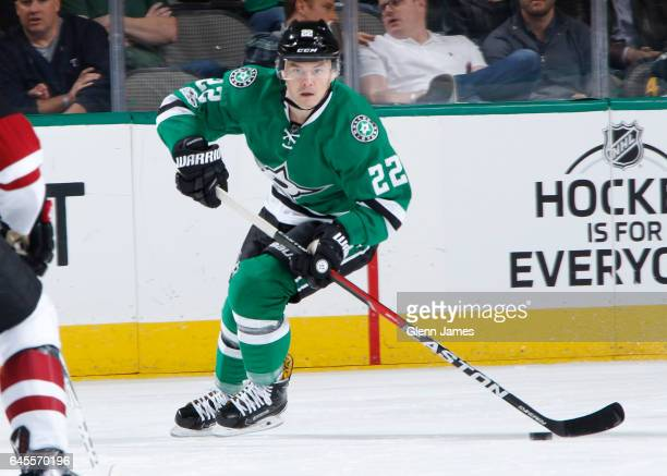 Jiri Hudler of the Dallas Stars handles the puck against the Arizona Coyotes at the American Airlines Center on February 24 2017 in Dallas Texas