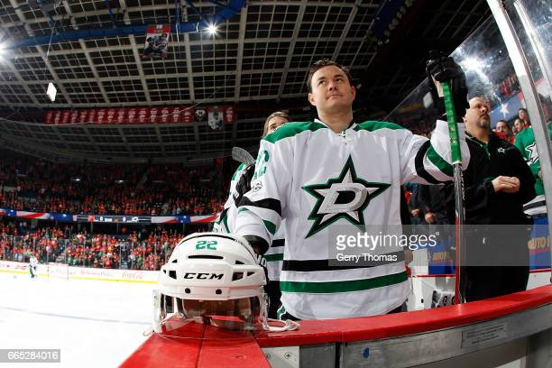 Jiri Hudler of the Dallas Stars skates against the Calgary Flames during an NHL game on March 17 2017 at the Scotiabank Saddledome in Calgary Alberta...