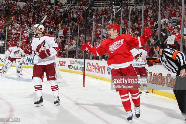 Jiri Hudler of the Detroit Red Wings celebrates his goal on Ilya Bryzgalov of the Phoenix Coyotes during Game One of the Western Conference...