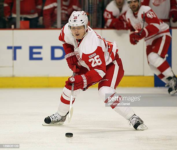 Jiri Hudler of the Detroit Red Wings controls the puck against the Chicago Blackhawks at the United Center on February 21 2012 in Chicago Illinois...