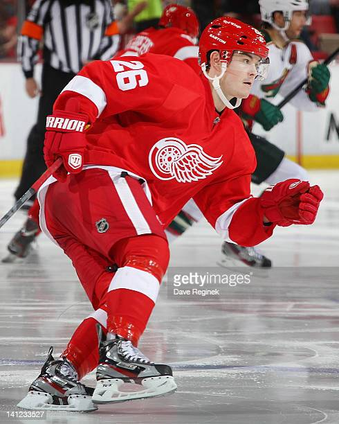 Jiri Hudler of the Detroit Red Wings cuts to the play during an NHL game against the Minnesota Wild at Joe Louis Arena on March 2 2012 in Detroit...