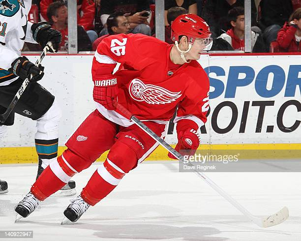 Jiri Hudler of the Detroit Red Wings moves up ice during an NHL game against the San Jose Sharks at Joe Louis Arena on February 19 2012 in Detroit...