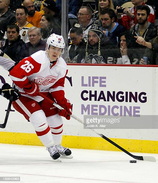 Jiri Hudler of the Detroit Red Wings skates against the Pittsburgh Penguins during the game at Consol Energy Center on December 13 2011 in Pittsburgh...