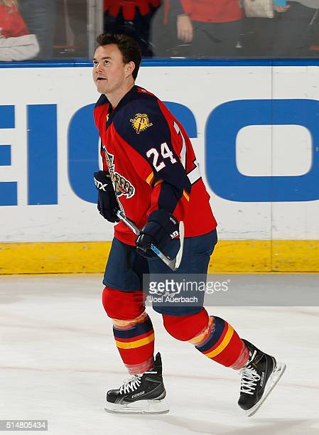 Jiri Hudler of the Florida Panthers looks up at the scoreboard as he skates prior to the game against the Ottawa Senators at the BBT Center on March...