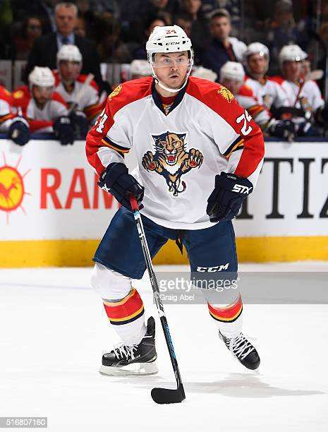Jiri Hudler of the Florida Panthers turns up ice against the Toronto Maple Leafs during game action on March 17 2016 at Air Canada Centre in Toronto...