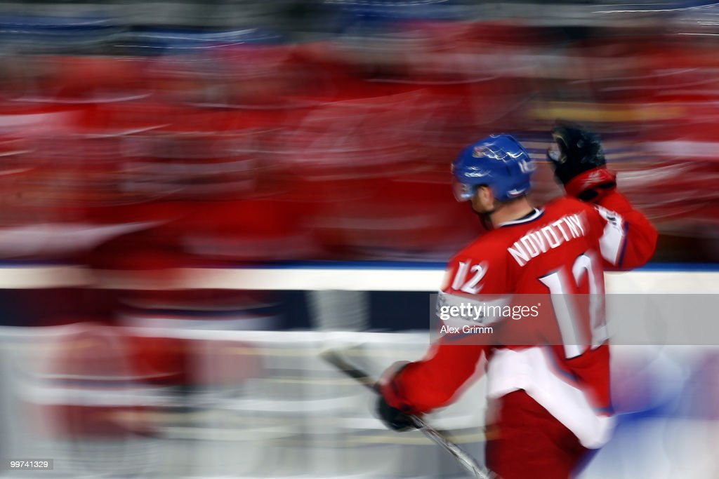 Jiri Novotny of Czech Republic celebrates his team's third goal with team mates during the IIHF World Championship group F qualification round match between Czech Republic and Latvia at SAP Arena on May 17, 2010 in Mannheim, Germany.