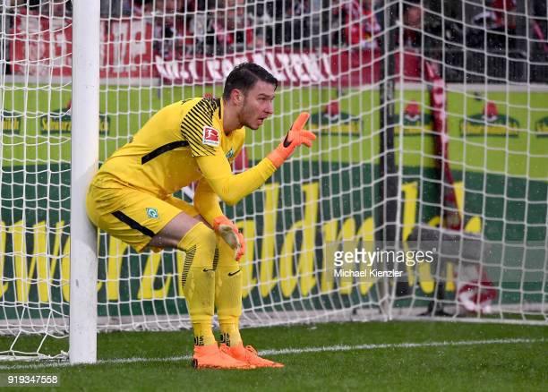 Jiri Pavlenka of SV Werder Bremen reacts during the Bundesliga match between SportClub Freiburg and SV Werder Bremen at SchwarzwaldStadion on...