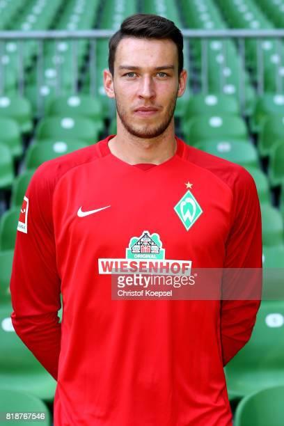 Jiri Pavlenka of Werder Bremen poses during the team presentation at Weser Stadium on July 19 2017 in Bremen Germany