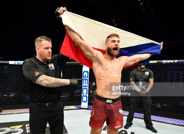 Jiri Prochazka of the Czech Republic celebrates after his knockout victory over Volkan Oezdemir in their light heavyweight fight during the UFC 251...