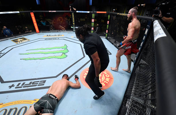 Jiri Prochazka of the Czech Republic reacts after his knockout of Dominick Reyes in a light heavyweight bout during the UFC Fight Night event at UFC...
