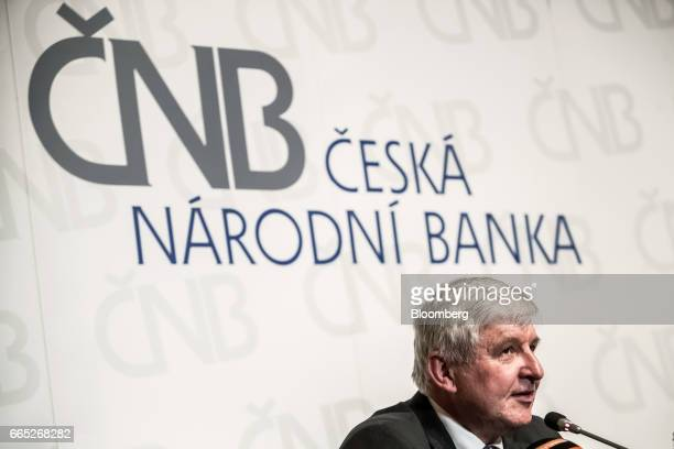 Jiri Rusnok governor of the Czech central bank speaks during a news conference in Prague Czech Republic on Thursday April 6 2017 The Czech central...