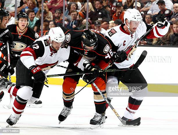 Jiri Sekac of the Anaheim Ducks battles for position against Brad Richardson and Shane Doan of the Arizona Coyotes on October 14 2015 at Honda Center...