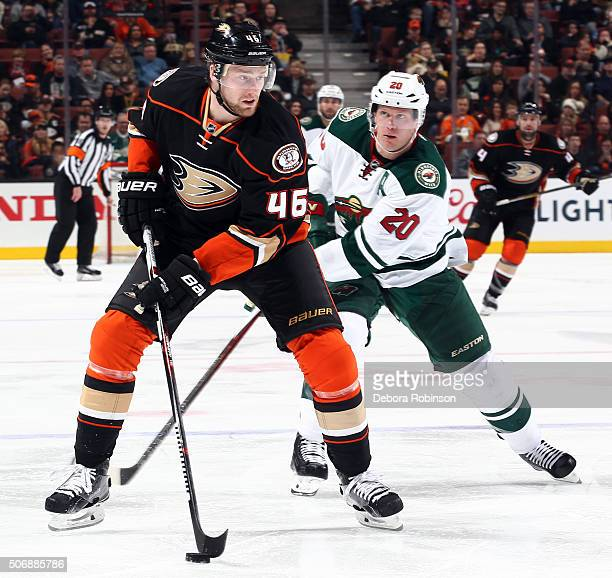 Jiri Sekac of the Anaheim Ducks handles the puck against Ryan Suter of the Minnesota Wild on January 20 2016 at Honda Center in Anaheim California