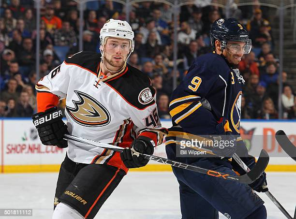Jiri Sekac of the Anaheim Ducks skates against Evander Kane of the Buffalo Sabres during an NHL game on December 17 2015 at the First Niagara Center...