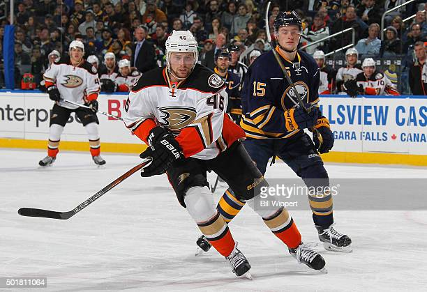 Jiri Sekac of the Anaheim Ducks skates against Jack Eichel of the Buffalo Sabres during an NHL game on December 17 2015 at the First Niagara Center...