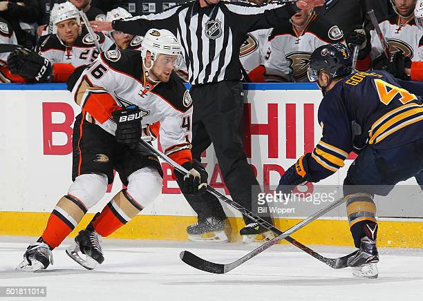 Jiri Sekac of the Anaheim Ducks skates against Josh Gorges of the Buffalo Sabres during an NHL game on December 17 2015 at the First Niagara Center...