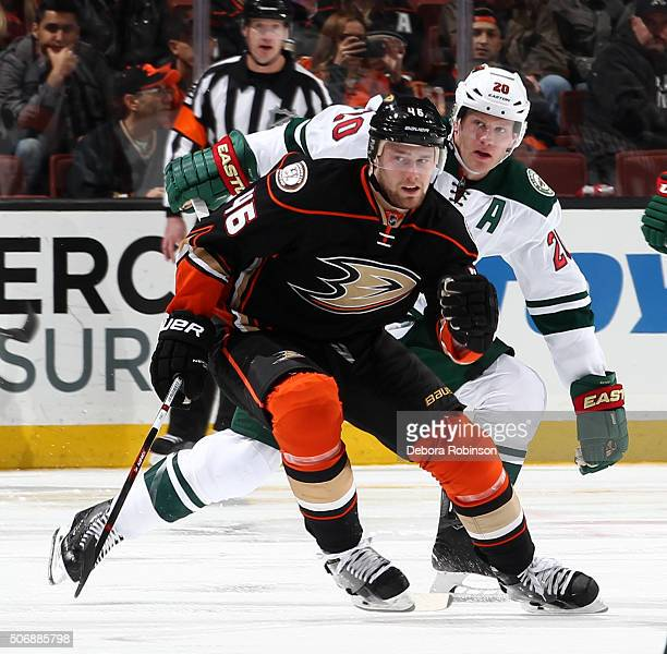 Jiri Sekac of the Anaheim Ducks skates against Ryan Suter of the Minnesota Wild on January 20 2016 at Honda Center in Anaheim California