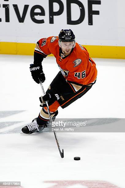 Jiri Sekac of the Anaheim Ducks skates with the puck during the third period of a game against the Colorado Avalanche at Honda Center on October 16...