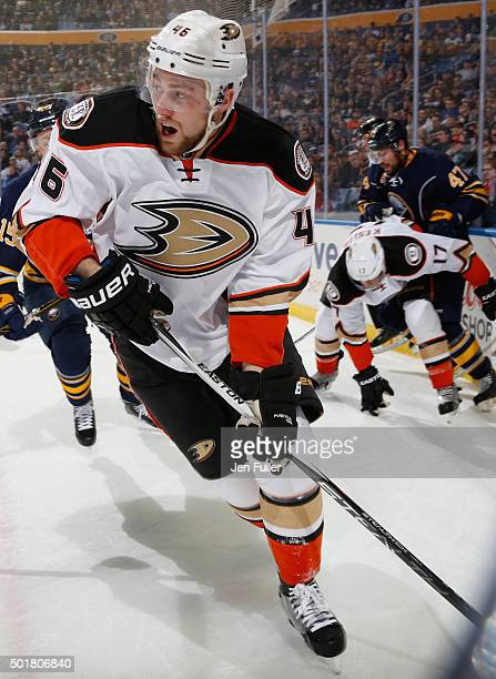 Jiri Sekac of the Anaheim Ducks skates with the puck in the corner against the Buffalo Sabres at First Niagara Center on December 17 2015 in Buffalo...