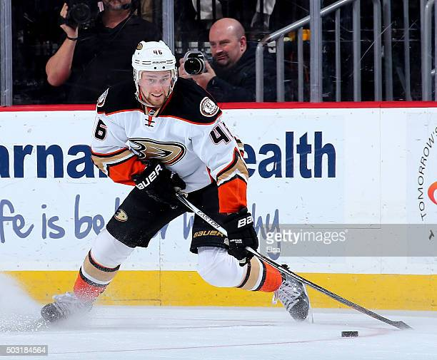 Jiri Sekac of the Anaheim Ducks takes the puck in the first period against the New Jersey Devils on December 19 2015 at Prudential Center in Newark...