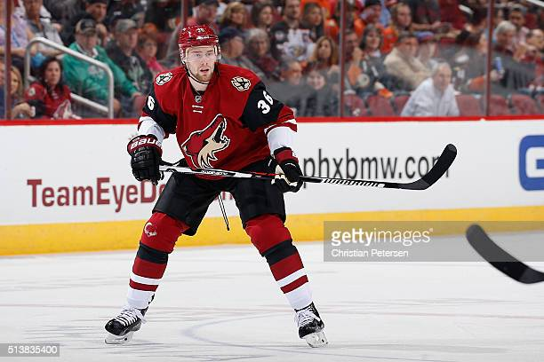 Jiri Sekac of the Arizona Coyotes in action during the NHL game against the Anaheim Ducks at Gila River Arena on March 3 2016 in Glendale Arizona The...