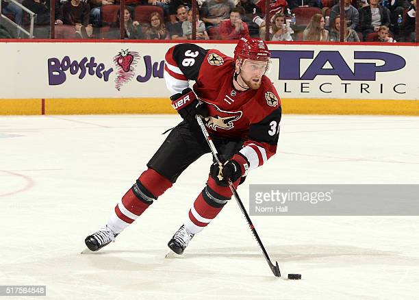 Jiri Sekac of the Arizona Coyotes skates the puck up ice against the Edmonton Oilers at Gila River Arena on March 22 2016 in Glendale Arizona