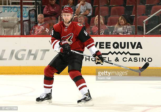 Jiri Sekac of the Arizona Coyotes skates up ice against the Anaheim Ducks at Gila River Arena on March 3 2016 in Glendale Arizona