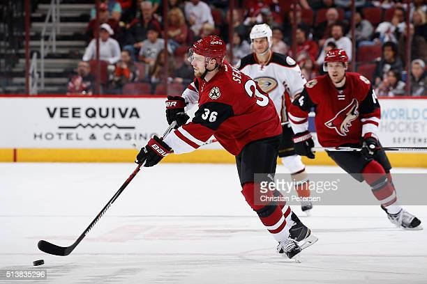 Jiri Sekac of the Arizona Coyotes skates with the puck during the NHL game against the Anaheim Ducks at Gila River Arena on March 3 2016 in Glendale...