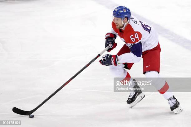 Jiri Sekac of the Czech Republic controls the puck in the first period during the Men's Ice Hockey Preliminary Round Group A game on day eight of the...