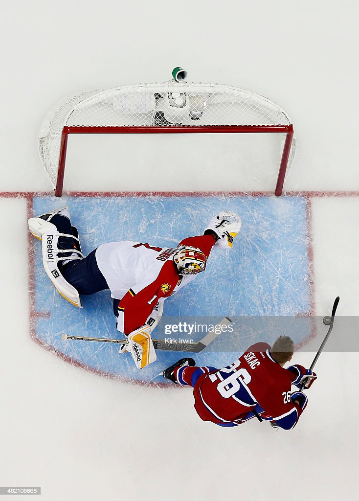 Jiri Sekac #26 of the Montreal Canadiens and Team Foligno takes a shot on Roberto Luongo #1 of the Florida Panthers and Team Toews during the Discover NHL Shootout event of the 2015 Honda NHL All-Star Skills Competition at Nationwide Arena on January 24, 2015 in Columbus, Ohio.