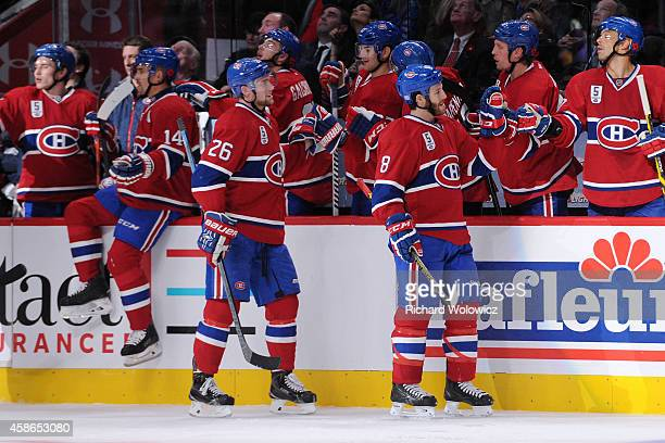Jiri Sekac of the Montreal Canadiens celebrates his second period goal with teammates during the NHL game against the Minnesota Wild at the Bell...