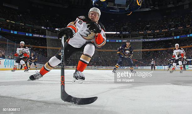 Jiri Sekac of the of the Anaheim Ducks reaches to control the puck during an NHL game against the Buffalo Sabres on December 17 2015 at the First...