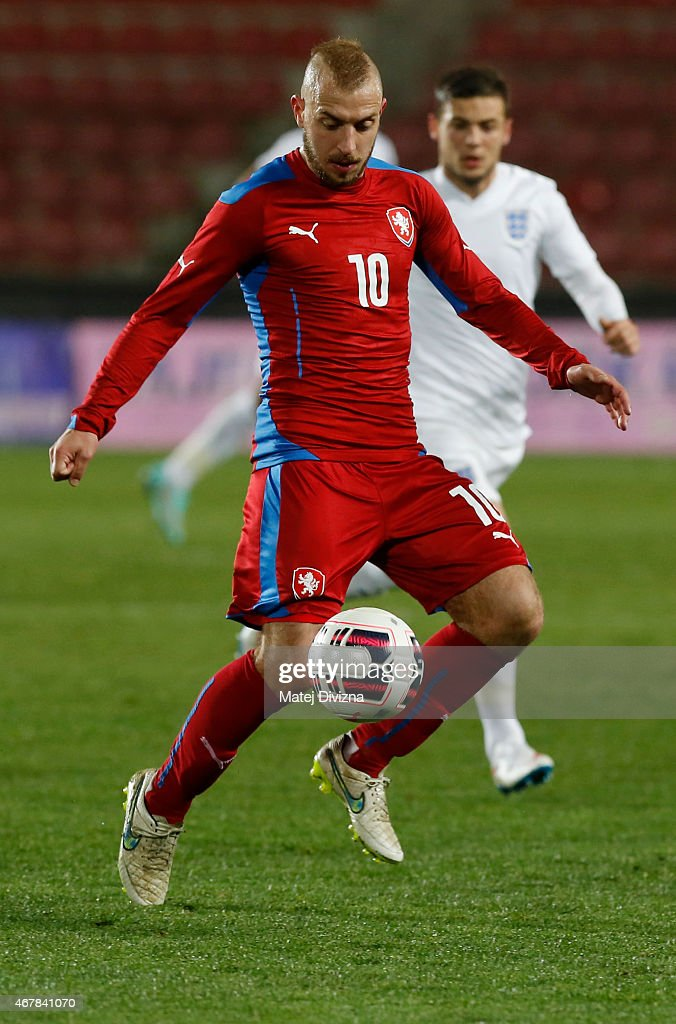 Jiri Skalak of Czech Republic in action during the international friendly match between U21 Czech Republic and U21 England at Letna Stadium on March 27, 2015 in Prague, Czech Republic.