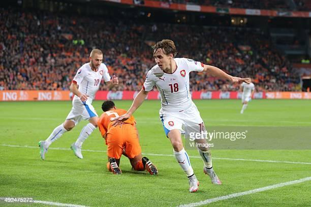 Jiri Skalak of Czech Republik Jairo Riedewald of Holland Josef Sural of Czech Republik during the EURO 2016 qualifying match between Netherlands and...