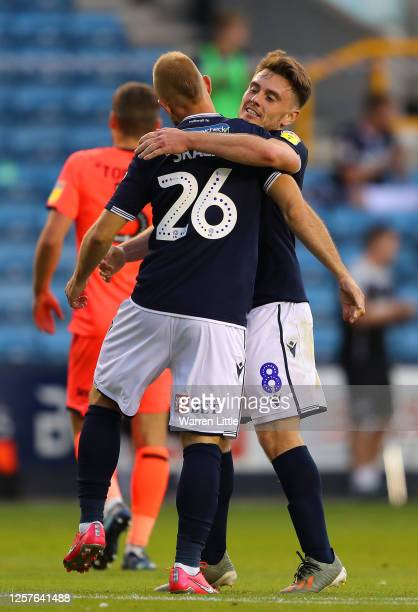 Jiri Skalak of Millwall is congratulated by team mate Ben Thompson after scoring his teams third goal during the Sky Bet Championship match between...