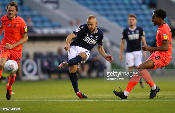 Jiri Skalak of Millwall scores his teams third goal during the Sky Bet Championship match between Millwall and Huddersfield Town at The Den on July...