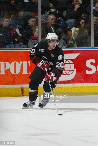 Jiri Tlusty of the Sault Greyhounds skates in game against the London Knights played at the John Labatt Centre on January 28, 2007 in London,...