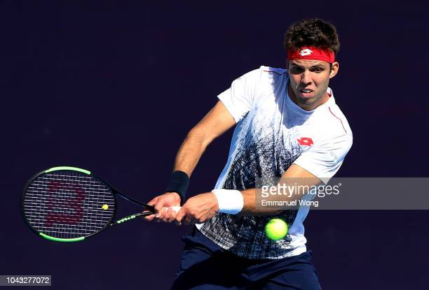 Jiri Vesely of Czech Repbulic returns a shot against Matteo Berrettini of Italy during their Men's Singles 1nd Round match of the 2018 China Open at...