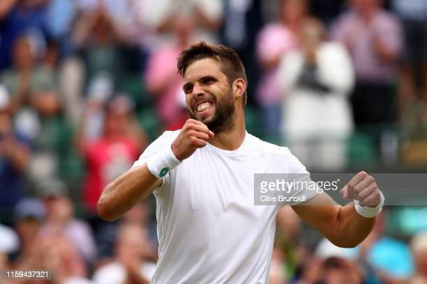 Jiri Vesely of Czech Republic celebrates victory in his Men's Singles first round match against Alexander Zverev of Germany during Day one of The...
